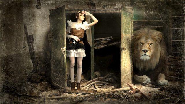 Woman closet lion