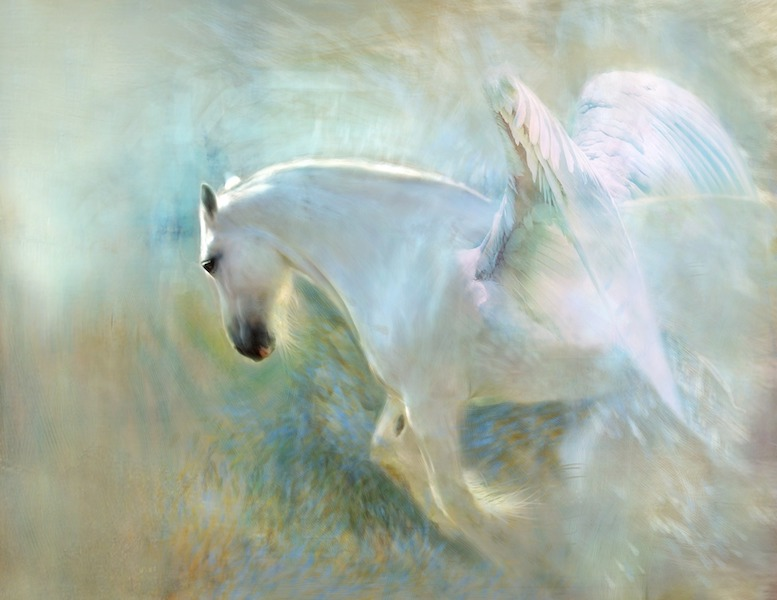 angelic white horse with wings