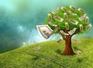 Money in bills falling off tree