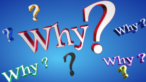 Image of question marks and the word WHY on a blue background